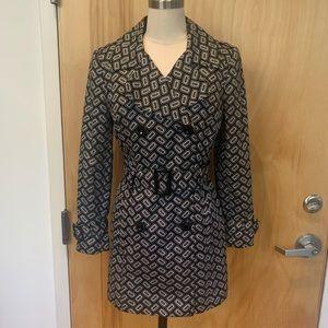 Geometric print trench coat